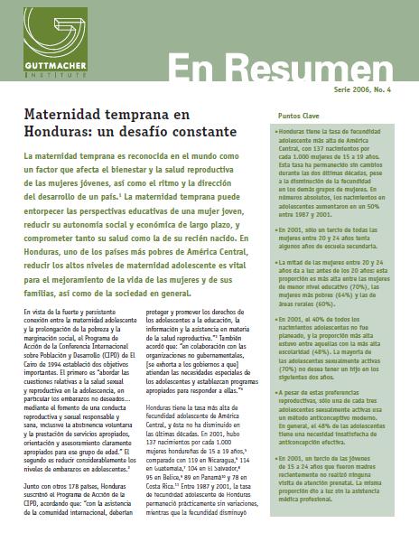 MATERNIDAD TEMPRANA EN HONDURAS (PORTADA)